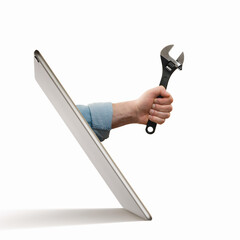 Fototapeta The human hand with  black wrench stick out of a digital tablet screen. Concept of technical support. Isolated on white. obraz