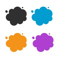 Clouds icon vector isolated set for copy space text bubbles flat cartoon comic illustration, idea of smoke or smog pollution cloud