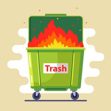 the trash can is burning. violation of the rules. harm to nature and people. bad ecology. flat vector illustration