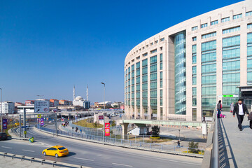 Istanbul, Turkey - February 18, 2017: Caglayan Justice Palace (Turkish: Caglayan Adalet Sarayi) is a courthouse in Sisli, Istanbul. Inaugurated in July 2011, it is the largest courthouse in Europe.