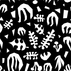 Abstract plants monochrome collage seamless vector pattern. White and black contemporary minimalistic leave shapes background.