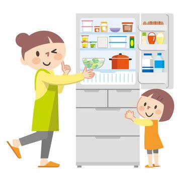 冷蔵庫を開ける親子のイラストレーション