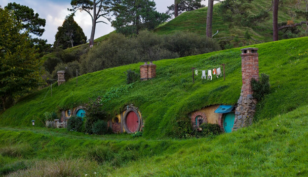 MATAMATA- NEW ZEALAND -APRIL -19- 2019: Hobbiton movie set created for filming The Lord of the Rings and The Hobbit movies in North Island of New Zealand.