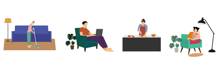 The concept of stay home. People stay at home. Young people work as freelancers, read books, do house cleaning and cook food. Illustration in a flat style. Wall mural