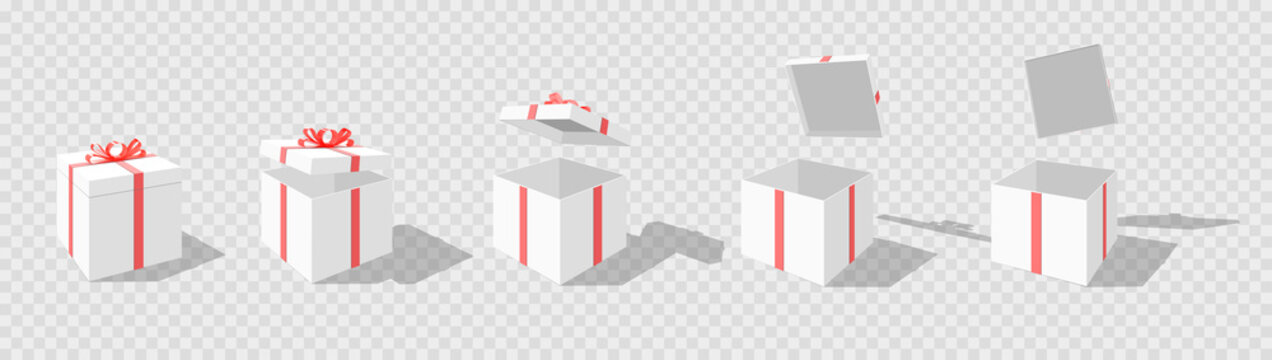 Set of opening boxes at different angles in perspective. Pink cardboard box. Surprise gift box. Carton gift boxes delivery packaging open and closed box with bows mockup set