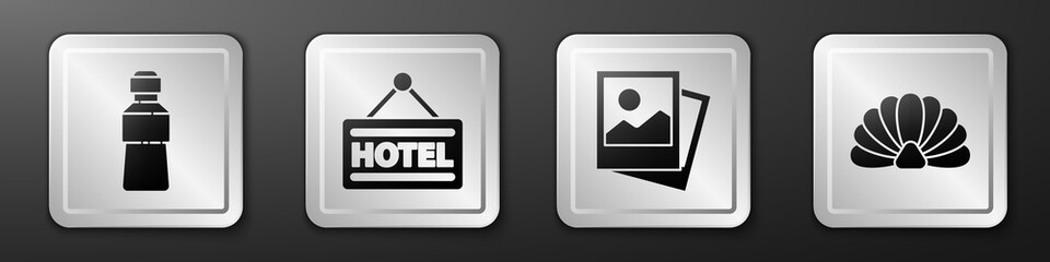 Set Bottle of water, Signboard with text Hotel, Photo and Scallop sea shell icon. Silver square button. Vector.