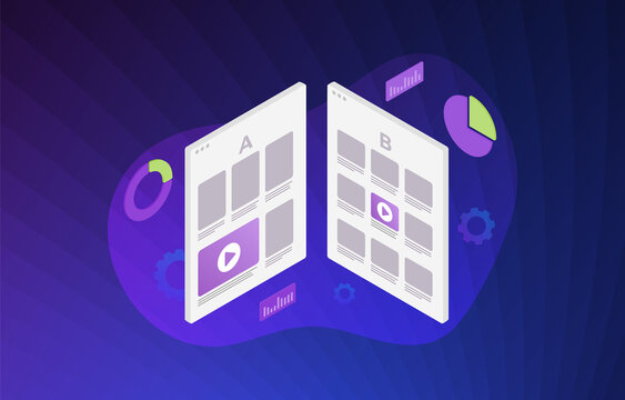 A B split testing illustration concept - two webpages with a different web development UI interface. A-B comparison with positive feedback, flat vector icon with violet background