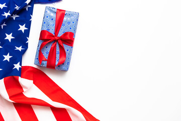 4th of July American Happy Independence Day card with gift boxes in national colors american flag on white background
