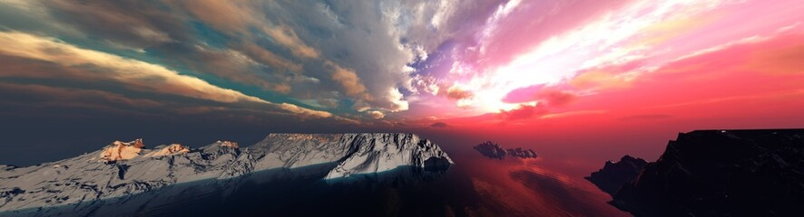 Beautiful sea sunset among the ice, arctic landscape at sunrise, northern lights, antarctica at sunset, 3D rendering