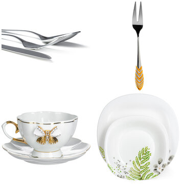 Collage of crockery and cutlery on white background