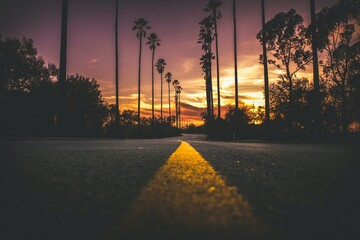 An Amazing Empty Street Scene During Sunrise Or Sunset Of An Urban Cityscape.