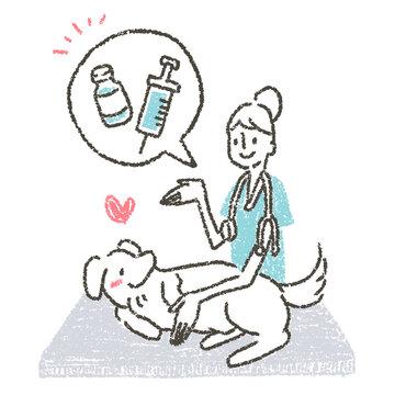 動物病院で獣医師によるペットに狂犬病予防ワクチンを促すイラスト