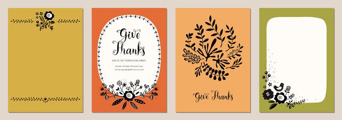 Trendy Thanksgiving templates in scandinavian style. Good for poster, card, invitation, flyer, cover, banner, placard, brochure and other graphic design.