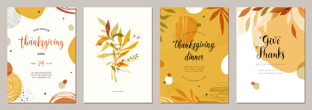 Trendy abstract Thanksgiving templates. Good for poster, card, invitation, flyer, cover, banner, placard, brochure and other graphic design.