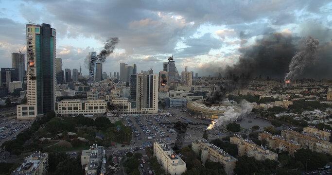 Tel Aviv City Under attack in war aerial view Illustration