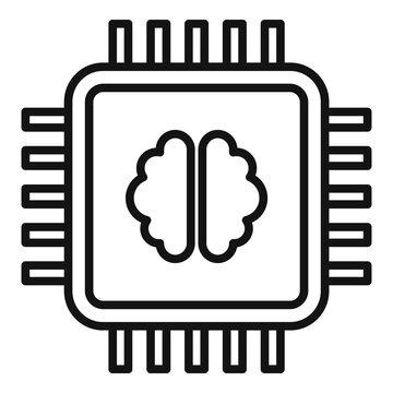 Brain ai processor icon. Outline brain ai processor vector icon for web design isolated on white background