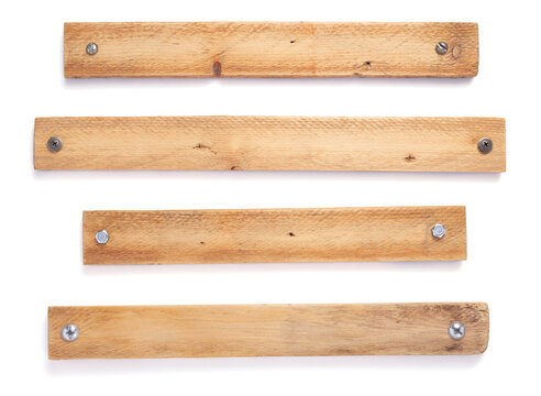 wooden board, beam or bars on white background
