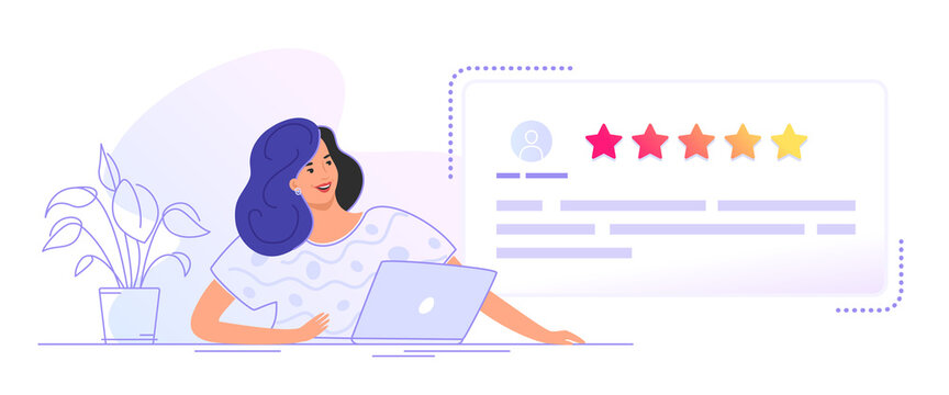 Customer review form to leave comment and rate a service or goods. Flat smiling woman sitting with laptop and looking at user testimonials fulfilled form. Customer feedback and rating 5 stars on white