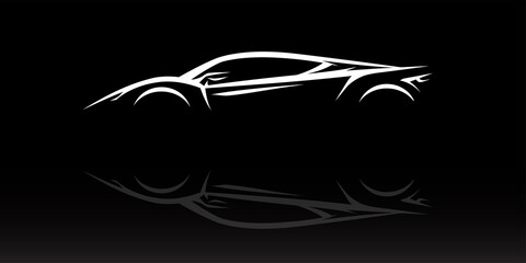 Concept Supercar Silhouette. Auto sports car showroom emblem design. Performance motor vehicle dealership logo style design on black background. Vector illustration.