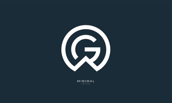 Alphabet letter icon logo GW or WG