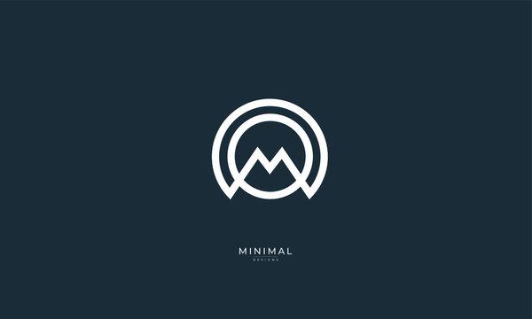 Alphabet letter icon logo MO or OM