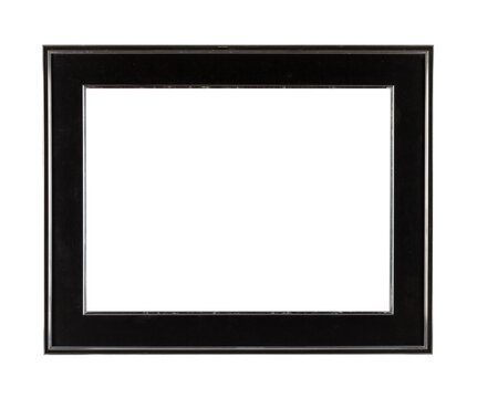 Black thick square frame for painting or picture isolated on a white background