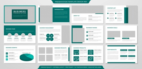 set of presentation layout template design with minimalist style use for business proposal and annual report