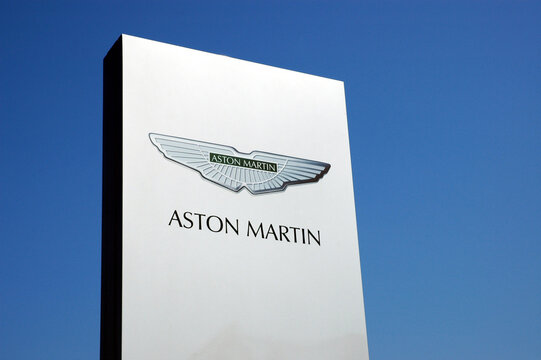 Bremen / Germany - April 24, 2005: Aston Martin logo in Bremen, Germany - Aston Martin is a British manufacturer of luxury sports cars and grand tourers