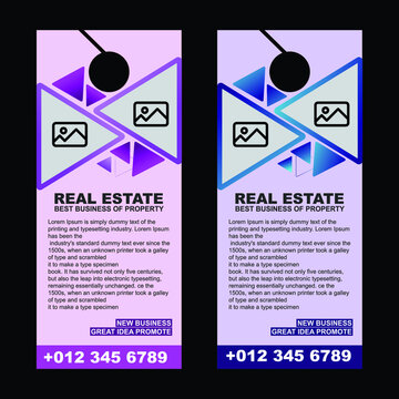 door hanger design template, for real estate business company. Door hanger Vector illustration,