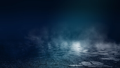Dark dramatic background. Wet asphalt, smoke and fog. Neon light spotlight. 3d illustration