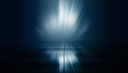 Dark dramatic background. Wet asphalt, smoke and fog. Neon light spotlight. 3d illustration