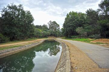 Water channel for irrigation the Guadalhorce River, Castellar de la Frontera, province of Cádiz, Spain