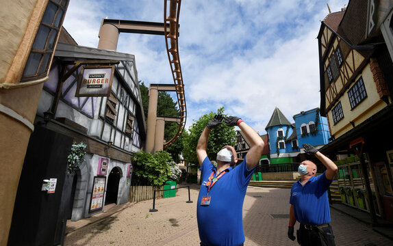 Preparations made at Chessington World of Adventures ahead of the reopening of the theme park and resort hotel, following the outbreak of the coronavirus disease (COVID-19), in Chessington