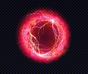 Foto op Canvas Bol Electric ball. Lightning circle. Thunderbolt. Vector electric discharge effect. The light sphere in blue and purple colors isolated on a black background. Flash, plasma ball, energy or portal. Vector