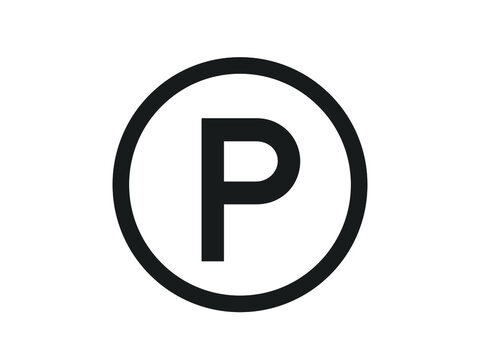 Parking sign in circle. Vector parking sign design.