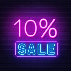 Fototapete - 10 percent sale neon sign. Discount. Vector illustration