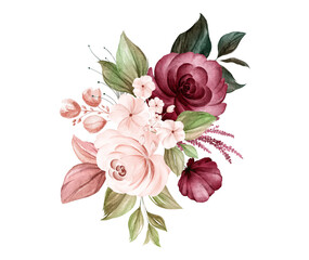 Watercolor bouquet of soft brown and burgundy roses and leaves. Botanic decoration illustration for wedding card, fabric, and logo composition
