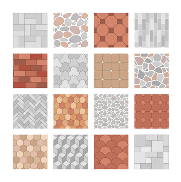 Vector set of seamless pavement textures. Collection of street pavements, brick, architectural elements. Top view. Paving stone pattern for map, landscape design, plan, garden, game. Rock stones slab