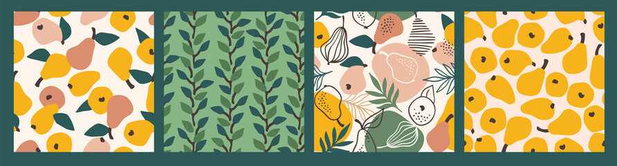 Vector seamless patterns with simple pears. Trendy hand drawn textures.