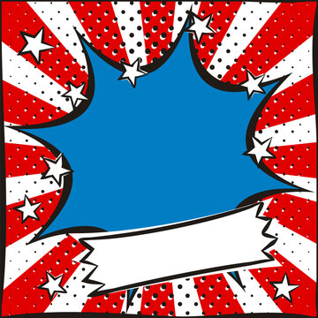 Bright pop art picture for USA Independence Day. Template by July 4th in national colors of the United States of America. Square cartoon web banner for social media post template. Vector illustration