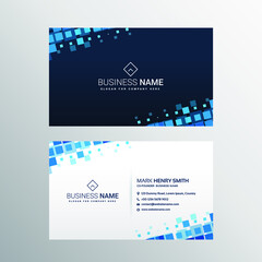 Modern beautiful business card with blue squares