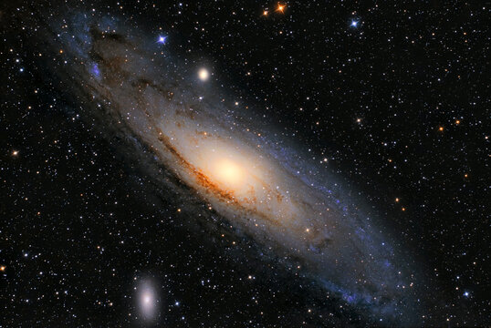 Andromeda Galaxy (M31) and its satellite galaxies (M32 and M110) in Andromeda constellation