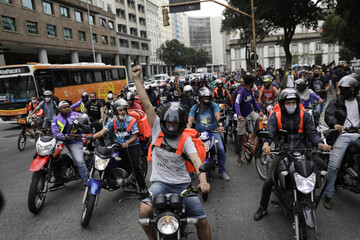 Delivery apps workers participate in a strike demanding better working and paying conditions