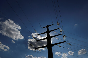 A power line is seen near a thermal power plant in Kyiv