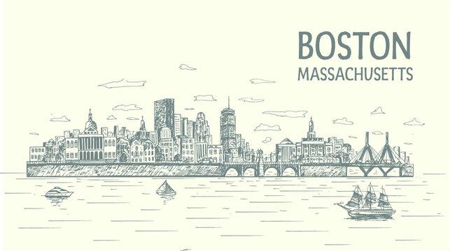 Boston city skyline with popular landmarks hand drawn, sketch style, isolated,vector, illustration