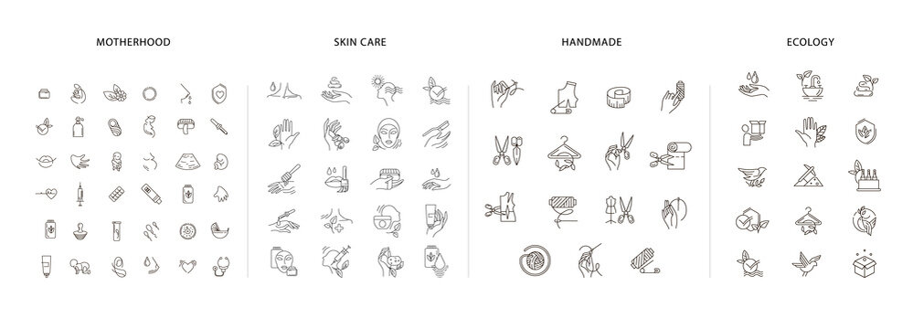 Vector icon and logo collection for pegnancy and gynecology, handmade and natural cosmetics, environmental protection and recycling. Editable outline stroke size. Line flat contour, thin and linear