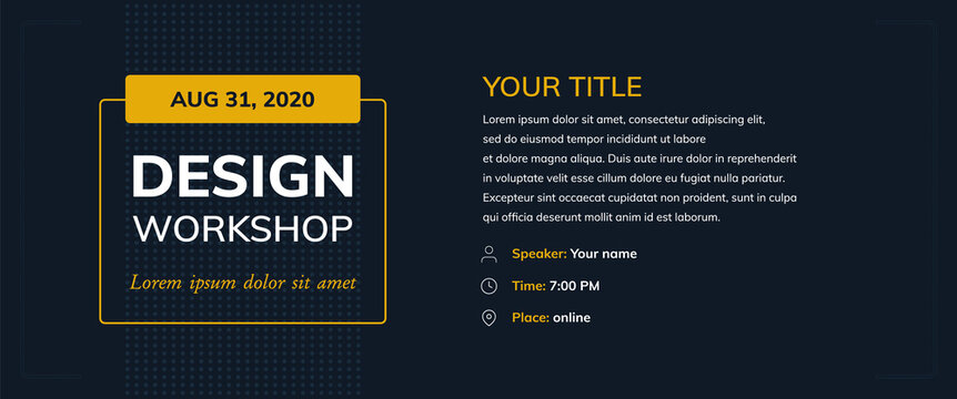 Design workshop with icons on a dark background. Creative poster vector template e-mail, party, workshop, event, webinar, conference
