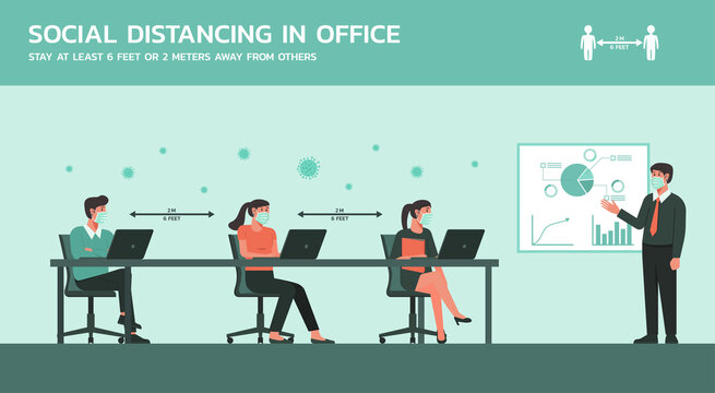 business people meeting together in meeting room wearing mask and maintain social distancing to prevent coronavirus disease, new normal office lifestyle concept, vector flat illustration