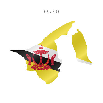 Waving flag map of Brunei. Vector illustration