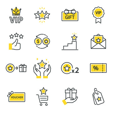Royalty program line icon set. Included icons as member, VIP, Exclusive, Reward, Voucher, High level, Gift Cards, Coupon, outline icons set,  Simple Symbol, Badge,  Sign. Flat Vector thin line Icon